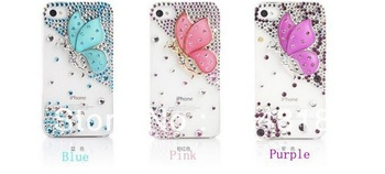 100% Handmade Luxury Butterfly Mobilephone case for IPHONE 4,4S,5G,Rhinestone bling diamond phone cover