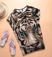East Knitting AS-111 Tiger Printed T-shirt Long Tops Womens Summer Tees Blue Eyes Popular T shirt Fashion Animal Pattern New