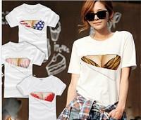 EAST KNITTING FH-205 Fashion 3D Printed shirt Funny tshirt Fake Big Chest tops Bra tshirt women summer t-shirt New Plus size