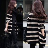 2013 New Fashion Autumn Winter Sweater Vintage Black Cardigan Women Cardigan Thicken Loose Batwing Coat