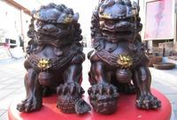"7""Chinese folk Feng Shui red bronze lifelike Foo Dogs beast Lion one Pair z"