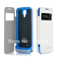 For Samsung Galasy S4 SIV 4200mAh Backup Battery Power Charger Flip Case Cover white