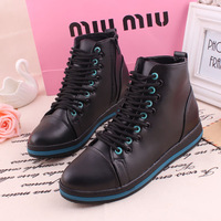 Free shipping!Dropshipping 2013 autumn high lacing shoes flat heel comfortable casual shoes round toe gladiator