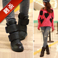 Freeshippig 2013 autumn and winter snow boots shoes women's velcro boots martin boots flat boots elevator