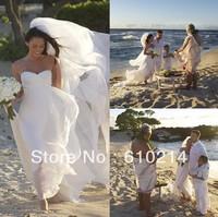 Megan Fox Gorgeous Strapless Ruched Chiffon Beach Bridal Dresses Empire Waist Celebrity Gowns New Fashion