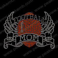 Wholesale Football Mom Rhinestone Bling Transfer Hot Fix Strass Design Iron On Applique Free Dhl Shipping 30Pcs/Lot