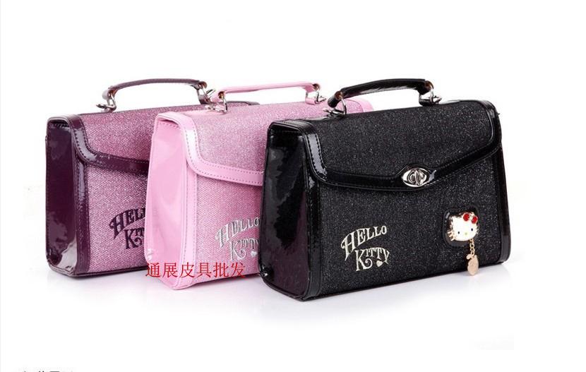 Fashion Hello kitty handbags Retro handbags Hello Kitty Bag 3 colors available (size: about 25cm*18cm*9cm) 3pcs/lot(China (Mainland))