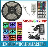 Best Price !!! CE&RoHs Flexible Led Strip Light Stripe RGB SMD 5050 300Leds 5m Waterproof + 44Keys IR Remote Controller