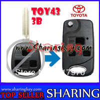 Folding 3 Button Remote Key Case Fob for TOYOTA Prado Tarago Camry Corolla Rav 4 Avensis Echo