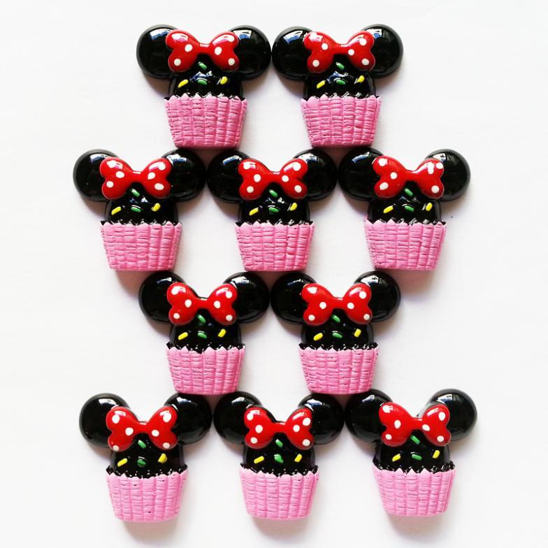 50 pcs Minnie Mouse festa doce trata Cupcake natator resina cabochões Scrapbooking cabelo Bow centro celular Deco artesanato RE175(China (Mainland))
