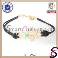 Fashion Jewelry 2013 12Pcs/Lot 4 Colors Black Silicone Cord Gold Hamsa Hand Bracelet