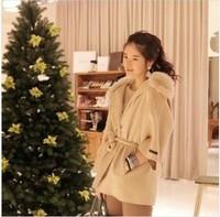 Hottest!!2013 new women coats fur with cap female woolen cloak outerwear fur collar medium-long blended wool coat X'mas gift