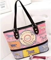 Korean version of the cartoon cute casual hit-color portable shoulder  real leather bags women woman handbag 2013 mj bags