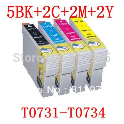 Картридж с чернилами Bloom 11PCS 73 t0731/t0734 EPSON Stylus C79/C90/C92/C110 CX3900/CX4900/CX4905/CX5600 T0731 T0732 T0733 T0734 картридж cactus cs ept0735 для epson stylus с79 c110 сх3900 cx4900 цветной 270стр 4шт