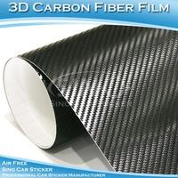 SINO CAR STICKER 1.52x30M 5FTx98FT Free Shipping 180 Microns  Air Free Black Carbon Fiber Car Decoration Vinyl Sticker