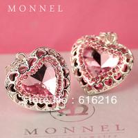 H1012b Romantic Lover Gift  2 pcs Rhinestone Pink Big Love Heart Necklace Pendant Charm