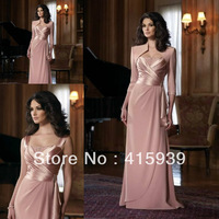 Free shipping!Hot sell a line strapless chiffon floor length long mother of the bride dresses with jacket MQ024