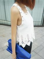 2014 Flower Cutout Lace Rivet Vest Studded Hollow Out Tank Top Women's Sleeveless Shirt
