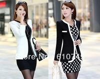 New fashion Women Long Sleeve Slim Brand Jacket Lady Autumn V-neck Black White Suit OL Jackets Plus Size Free Shipping