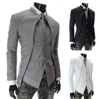 2013 New Arrival Men's Personality Asymmetrical Single Breasted Skinny Business Casual Suit Jacket Men's Blazer Asian:M-XXL