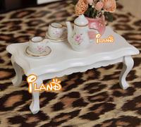 iland 1/12 Miniature Furniture Tea Table white wave edge living room Coffee Table