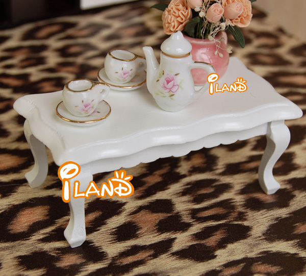 iland 1/12 Miniature Furniture Tea Table white wave edge living room Coffee Table(China (Mainland))