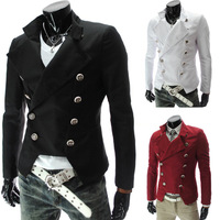 2014 New European and American Style Men's Double Breasted Slim Suit Jacket Men Fashion Blazer Size:M-XXL