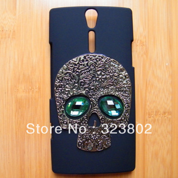 Handmade Goth Steampunk Dull Polish Matting Black Hard Shell Case Cover For Sonyericsson Sony Ericsson Xperia S LT26i with Skull