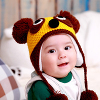 free shipping retail 2013 new fashion baby boys & baby girls  winter hats baby knitted bombers panda style