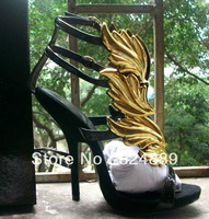 2013 Hot lady high heel sandals gold leaf wedge pumps flame sandal shoes