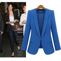 S-4XL Big Size Women's Black Blazers, Spring Autumn Lady Fashion Plus Size Blue Slim Business Suits, Oversized Female Clothing