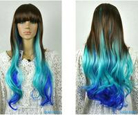 Dark Brown & Blue Mixed Long Wavy Fancy Dress Party Girl women Wig+cap+gift