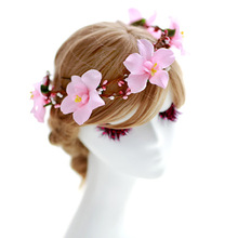 Peach blossom hair accessory the bride hair accessory garishness child marriage hair bands accessories
