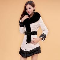 EMS Free shipping 2014 fox fur collar genuine sheepskin medium-long female  leather down outerwear coat with belt (M--X XXL)