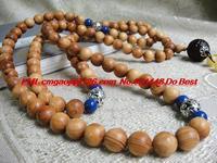 Tibetan prayer beads cliff cedar lined floral black oil Thuja with red sandalwood beads 108 10mm pendant