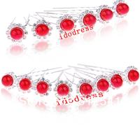 Charming Red Hair Pearl Diamond Jewelry Girls Bridal Accessories Wholesale Hair Barrettes Headdress KH502