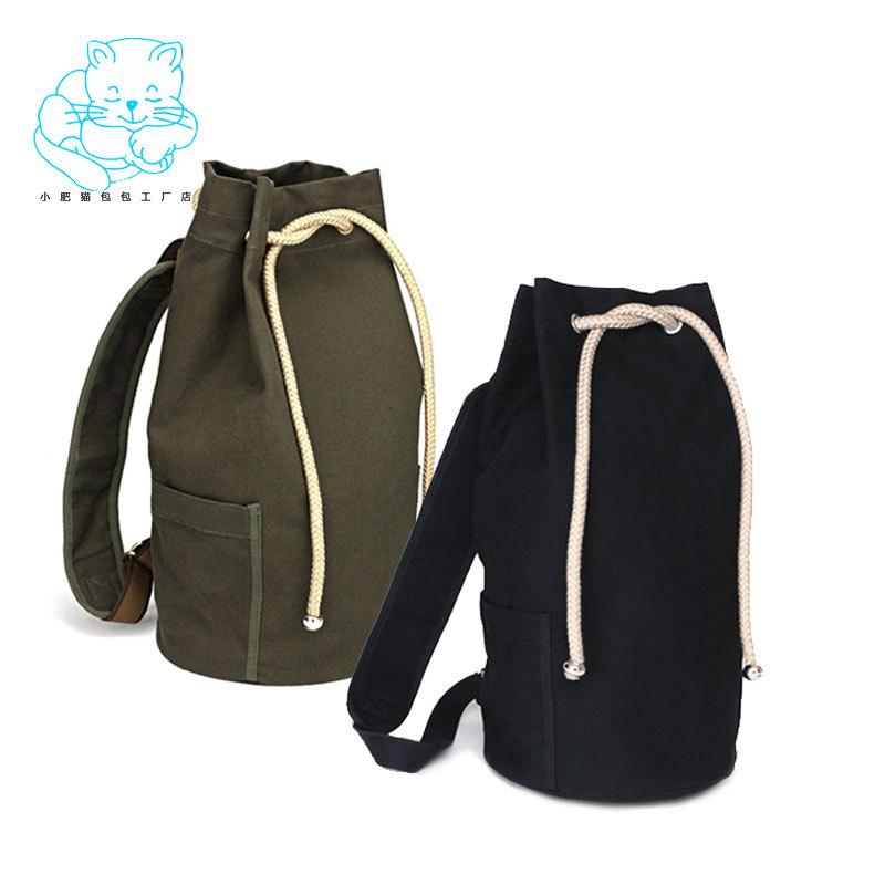 2014 drawstring canvas bucket girls backpack male brief women's fashion travel bag A4050(China (Mainland))