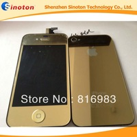 Gold Hot Plating LCD Display Digitizer Assembly+Mirror Back Housing For iPhone 4 4G