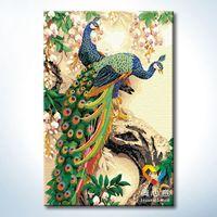 Diy digital oil painting digital painting peacock 60 90cm