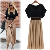 Free shipping 2013 new summer womens long dress fashion design big size ladies dress special patchwork womens clothes