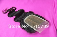 FREE SHIPPING 3.5*4 Parted Top Lace Closure bleached knots Peruvian Virgin Hair bodywave,middle line human hair lace closure 1b