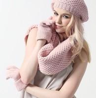 Glovin 2013 fashion quality Angora rabbit knitted hat scarf gloves three pieces set