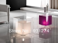 (1 piece Free Shipping To US) LED  cube light bedside table/acrylic side end table with  lights,LED furniture