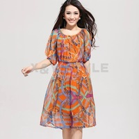 2012 summer fashion short-sleeve high waist silk one-piece dress women's
