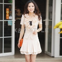 2012 summer ruffle hem short-sleeve twinset dress one-piece dress women's