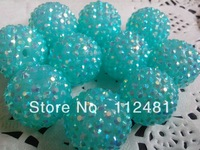 Chunky Transparent Turquoise Ab  Shinny  26MM 50PCS Resin Rhinestone  Ball Beads for Chunky Necklace Jewelry