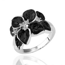 LR122 Fashion 18K White Gold Platinum Plated Items Statement Women Black Rose Flower Finger Ring Christmas