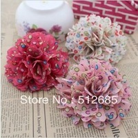 {Min.Order $15} 10pcs/Lot Print Flower With Lace Semi-Part/ Accessories For Hair Accessories/Garment/Caps/Jewelry/Bags/Shoes DIY