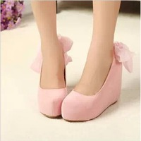 New 2013 Women's Pumps Princess Bow High Heels Platform Bridesmaid Wedges Wedding Shoes For Woman