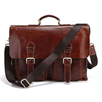 Free shipping by EMS!!2013 high quality handmade Cow Leather Men's Briefcase Laptop Handbag Messenger Shoulder Bag 7086X